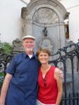 Gale Bowden (Hybarger)and husband Jim in Brussels this summer. No kids or pets so travel is easy. Oh, but my orchids die
