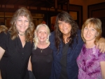 Val Randall, Tarey Jones Bolton, and Debbie Witek Caldwell with James Fairs at a Cryan Shames reunion  6/09
